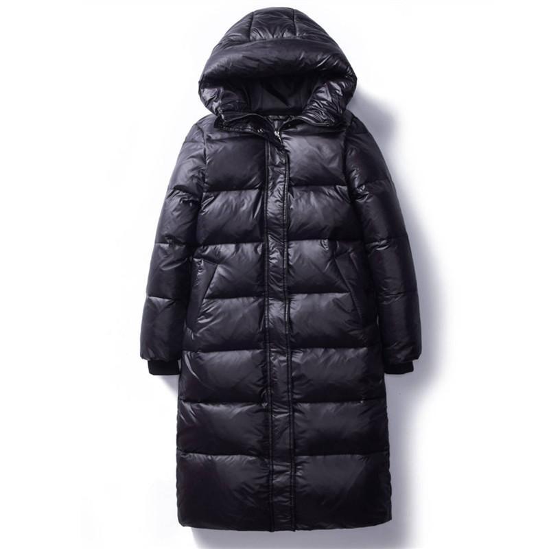 2020 Mulheres de inverno coreano para baixo Cotton s Long Parkas slim com capuz inverno quente Coats Feminino Plus Size Bla Overcoats V1162