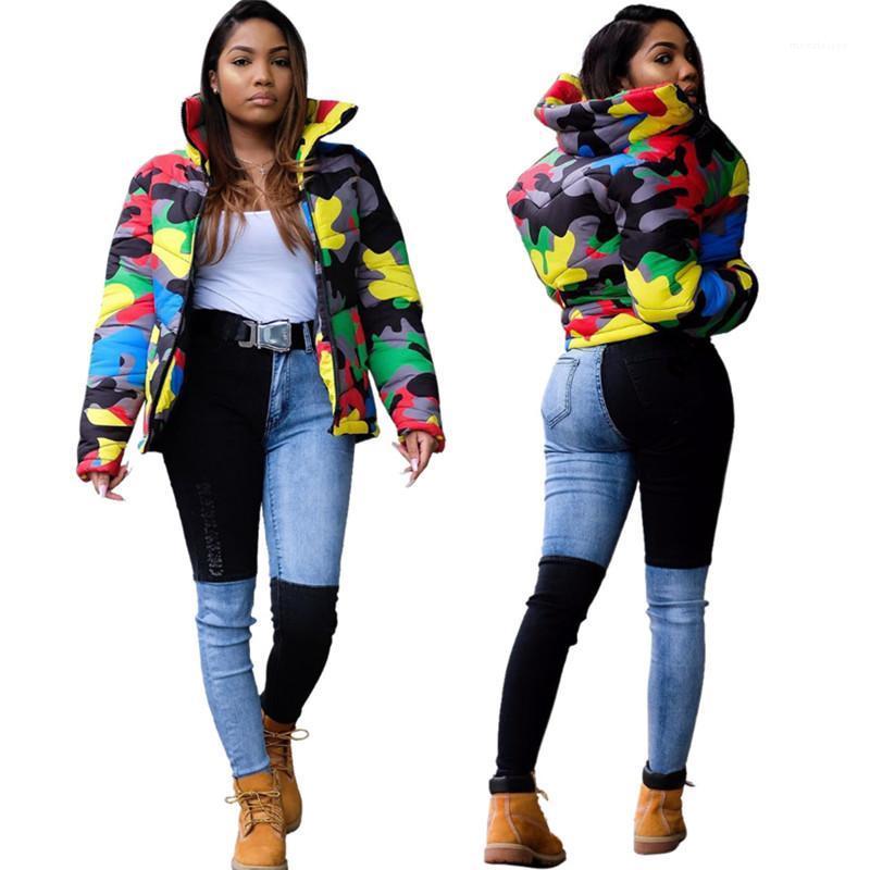 Верхняя одежда Камуфляж Женщины Дизайнер ветровки Street Style Contrast Color Stand Collar с длинным рукавом пальто Мужская зима