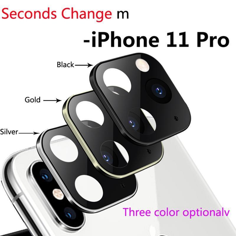 Protección segundos Cgjxs Cambio de vidrio templado para Iphone 11 Pro Max cámara cubierta de la lente para Iphone X X Max aleación de titanio nuevo caso de la cámara C