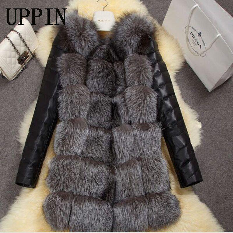 Manga larga nueva manera de las mujeres Arriv invierno imitación piel de Fox de la capa de la PU de la chaqueta de cuero de Mantener caliente Outwear Señora Casual Abrigo S-3XL Y200926