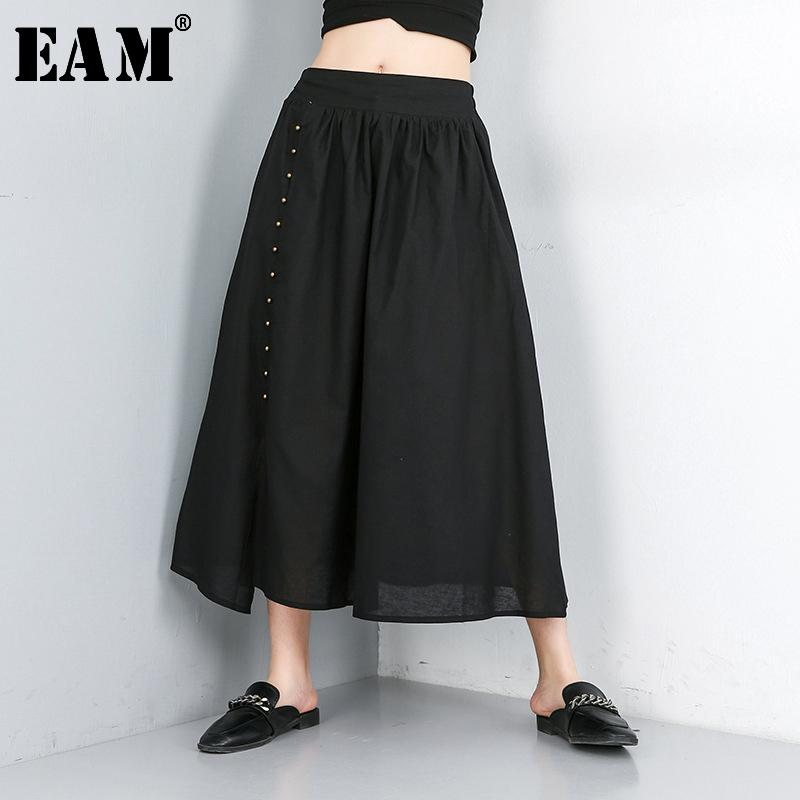 [EAM] 2020 Новая весна лето высокий эластичный пояс черный Сыпучие отдыха Nailed Split Joint Половина тела Юбка Женщины Мода Tide JW561