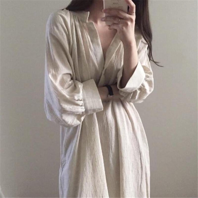1Pgh4 2020 New Spring vestito elegante camicia di Nazionale abito stile pigro grande le colletto alla coreana stile coreano lunga oltre il ginocchio in cotone etnica e
