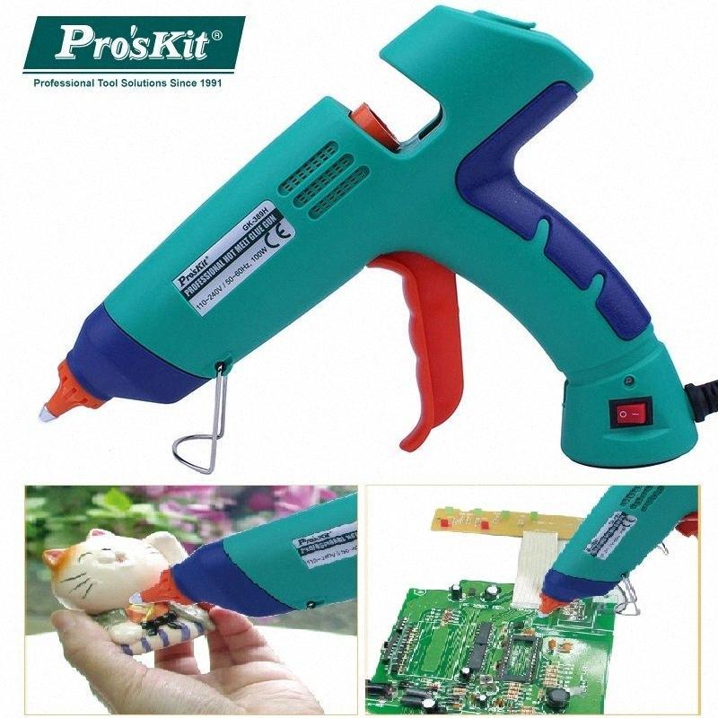 Pro'sKit GK-389H 100W 110V-240V Professional Hot Melt Pistolet à colle avec 3 PCS de Bâtons de colle pour le bricolage ou industriel 8hdQ #