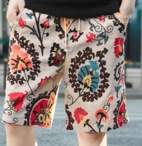 Impreso playa pantalones cortos de lino cómoda ocasional masculina Hommes vacaciones La mitad Pantalones cortos para hombre floral