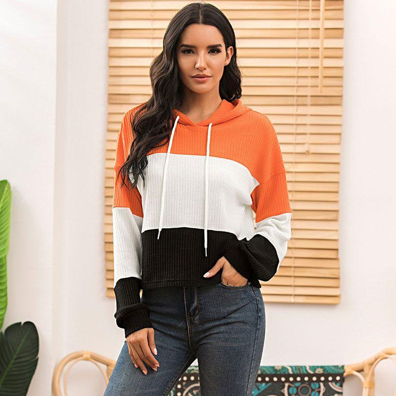 2020 Sonbahar Hoodie Kazak Kadınlar Moda Çizgili Kapşonlu Sweatshirt Bayan Uzun Kollu Kapüşonlular İçin Kadınlar