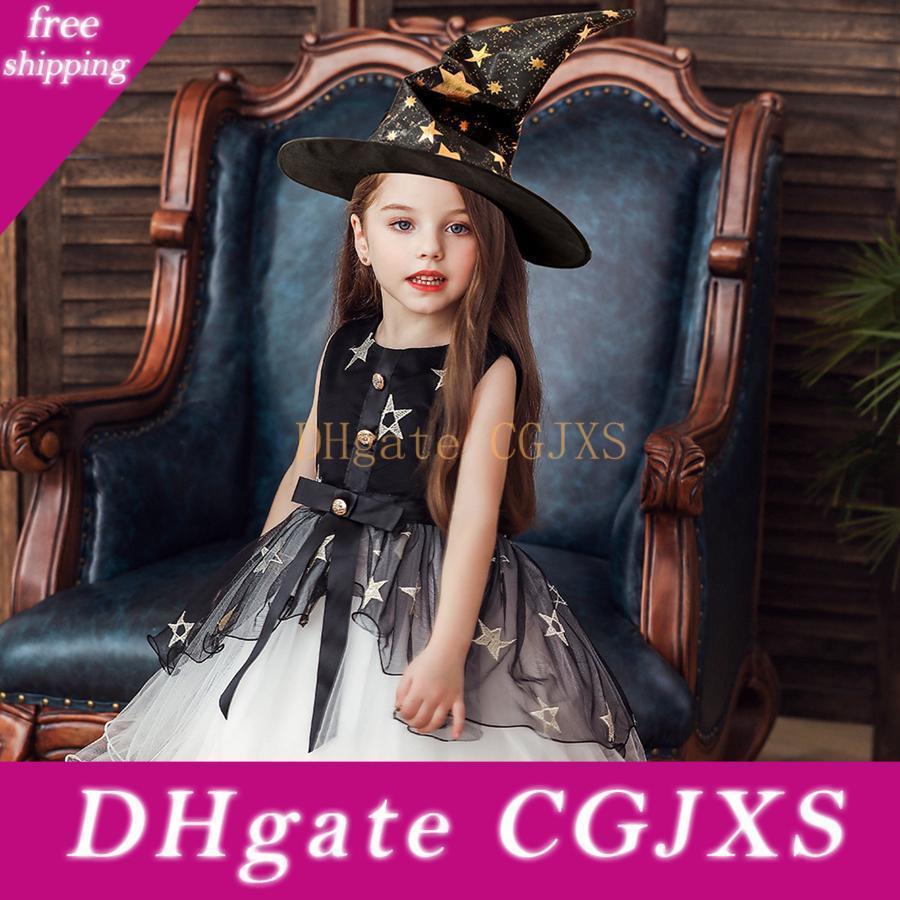 Dress Cosplay Halloween ragazza abiti Ruffle garza Stelle Pearl telaio dell'arco con la strega Cappello Kids Designer vestiti delle ragazze 3colors Abiti Rra1939
