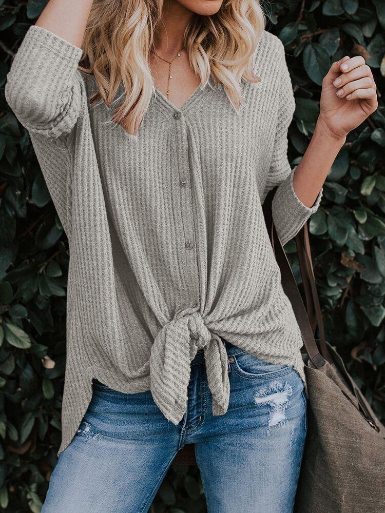 de manga larga con cuello en V chaqueta de punto base de color sólido de las mujeres de Nueva principios de la primavera a principios de otoño T- camiseta de la camisa 7bYXa