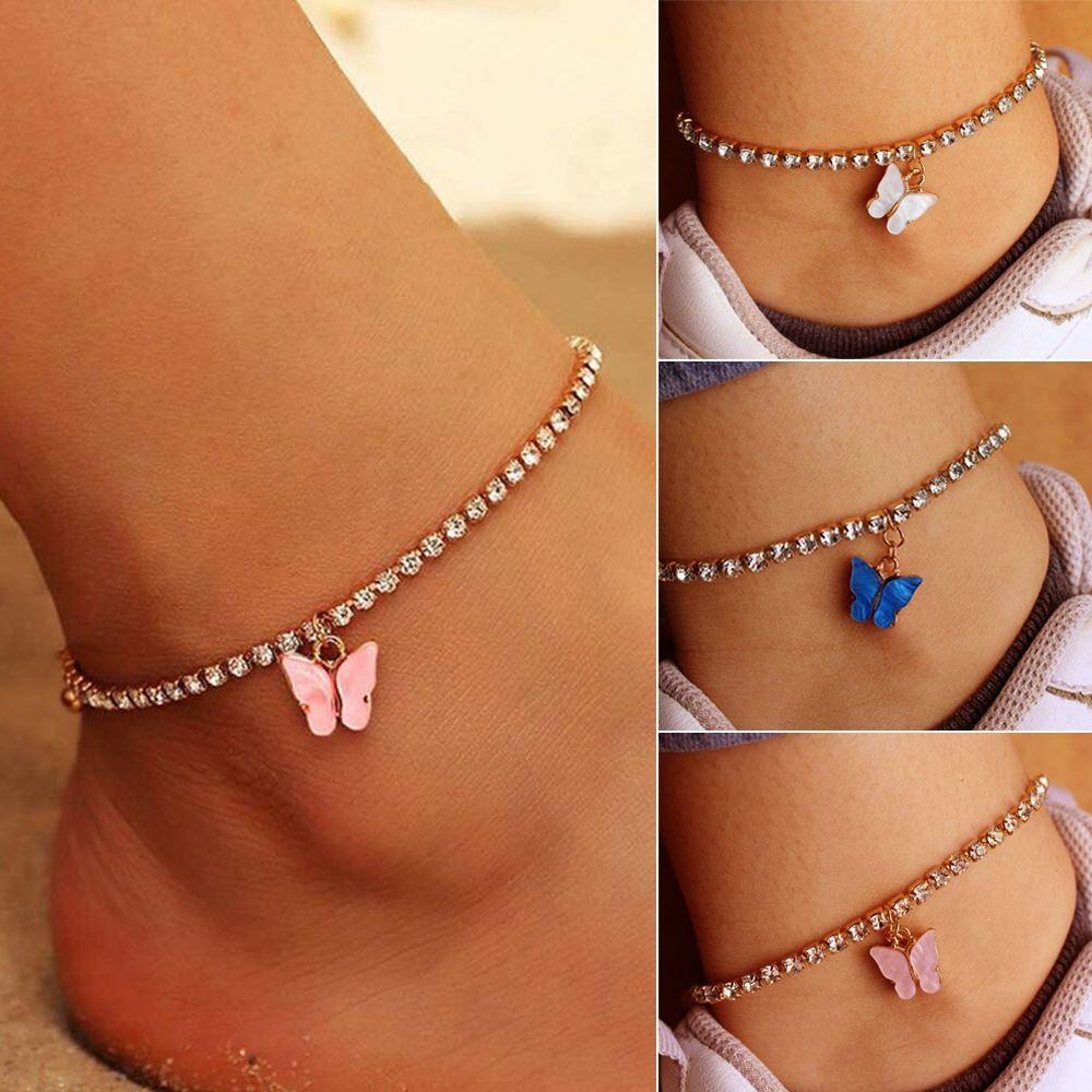 Doux mignon papillon strass cristal cheville Bracelet Bracelet Boho Bracelets de cheville de plage acrylique pour femmes Sandales Pied Bracelets Femme Bijoux