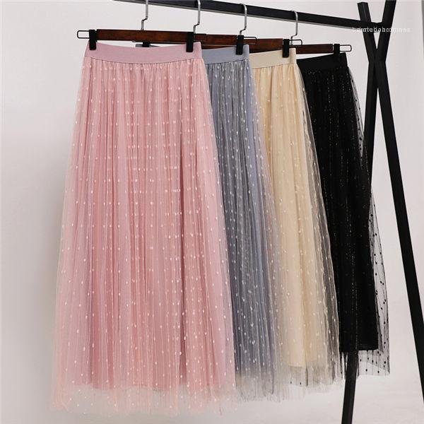 Sexy Tulle Gonne Nuovo arrivo modo delle donne gonne doppio strato estate pieghettata Retro vita elastica lunga Tutu Skirt