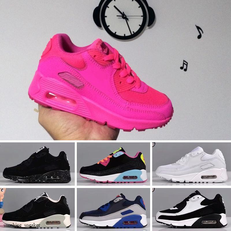 Nike Air Max 90 2018 zapatos del amortiguador infantil para niños, hombres, mujeres Zapatos de deportes de las muchachas de las zapatillas de deporte Formadores corren Eur 28-35
