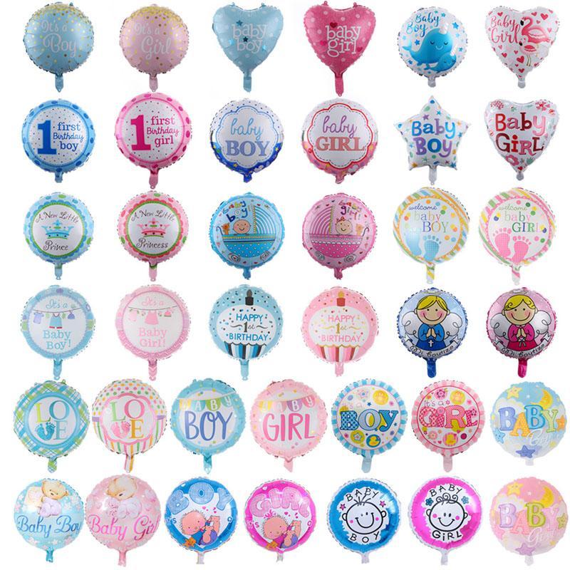 Vente en gros de 18 pouces bébé ballons de bébé 50pcs / lot bébé garçon fille fille aluminium ballons ballons bébé première fête d'anniversaire décorations
