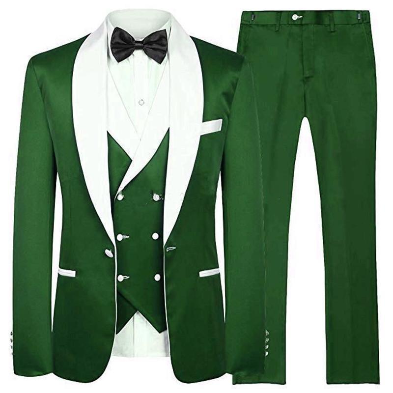 Giacca promenade di modo Verde smoking dello sposo bianco scialle risvolto Groomsman di nozze smoking Uomini Blazer 3 tuta (Jacket + Pants + Tie + Vest) 35