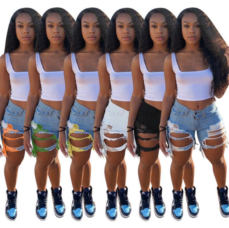 Desinger лето Женщины Короткие джинсы кисточкой высокой талией джинсы Мода Дизайнерские Vintage шорты Hole Женский Узкие брюки 885-1