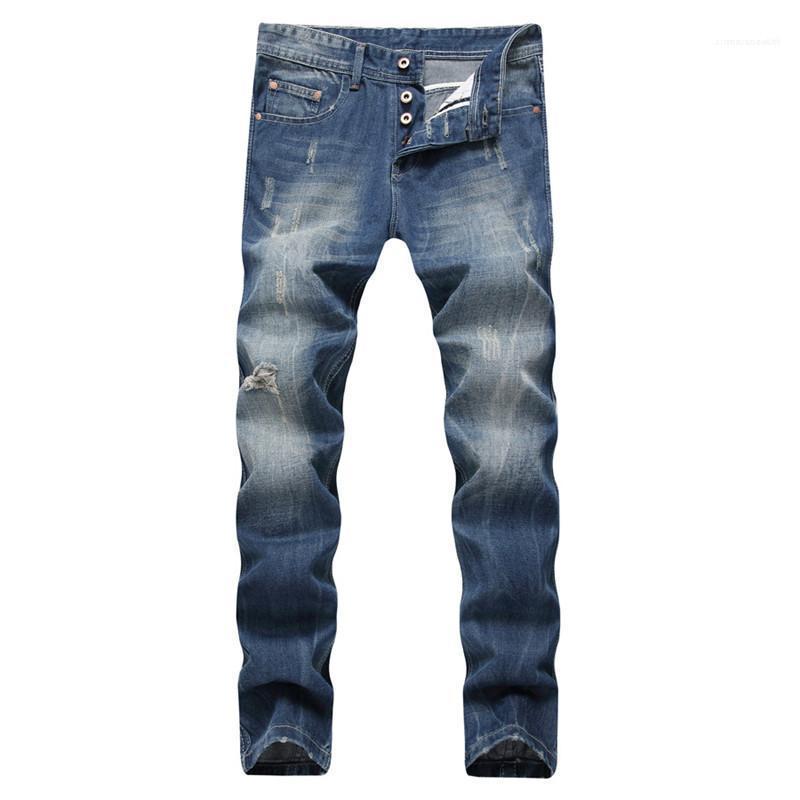 Омывается Zipper Fly Мужские джинсы Мужчины Одежда Светло-голубой прямые длинные мужские джинсы Середина талии Обычный