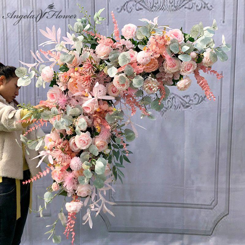 Fiore artificiale Disposizione centri tavola di fiori sfera Triangolo Linea Decor Wedding Arch fondale della fase del partito di evento