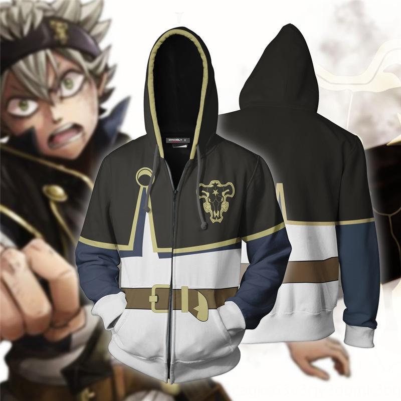 e4Gql New Japanese cartoon BlackClover Black hooded Clover sweater cosplay animation 3D sweater 3D JBofU