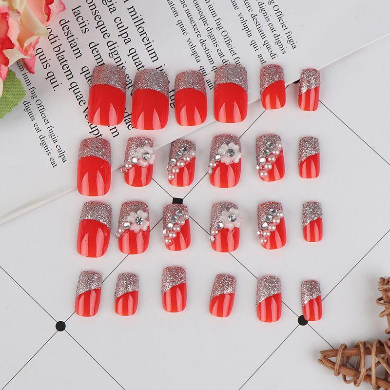 Tutkal Tırnak İpuçları ile 24pcs / set Basın On Çiviler Taze Stil Çiçek Baskı Yapay Çiviler Tasarım Kırmızı Sahte Tırnak