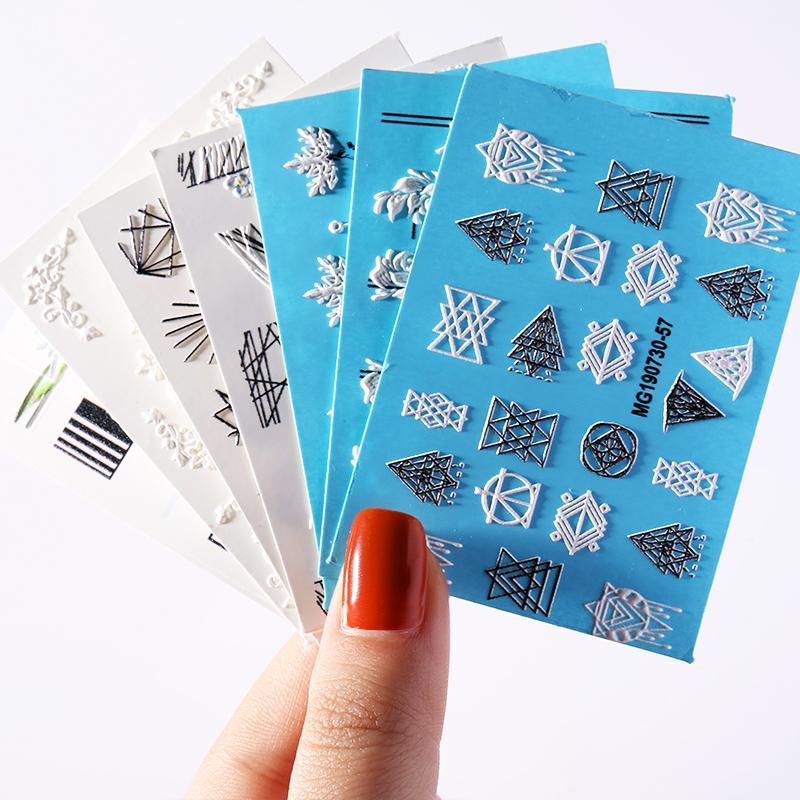 5D Doğal Güzellik Çıkartma Çiçek Geometrik Desen Tırnak Sticker Tesisi Tasarımı Transferi Çıkartmaları Dekorasyon Nail Art Aksesuar