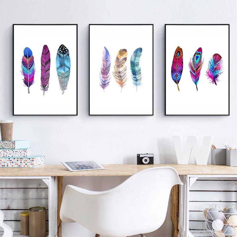 Gohipang Aquarelle plume colorée d'art de toile Affiche d'impression à la main Plumes Drawn Peinture indigène mur photos pour Home Decor