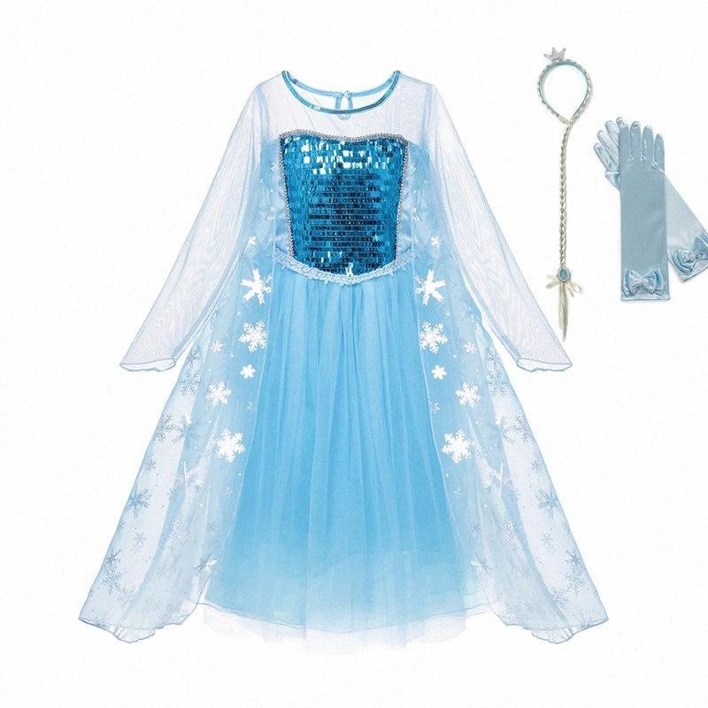 VOGUEON vestire vestiti delle ragazze a maniche lunghe paillettes Snow Queen principessa costume per bambini Elza Halloween Cosplay Party Dresses wzcq #