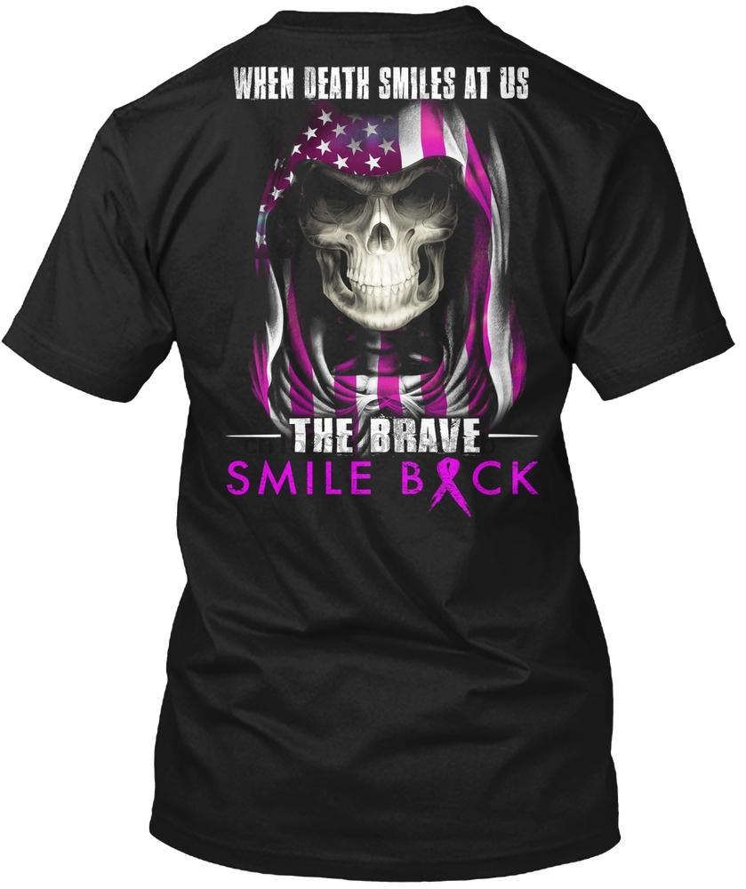 Hommes T-shirt La mort nous sourit le sourire courageux retour t-shirt femmes
