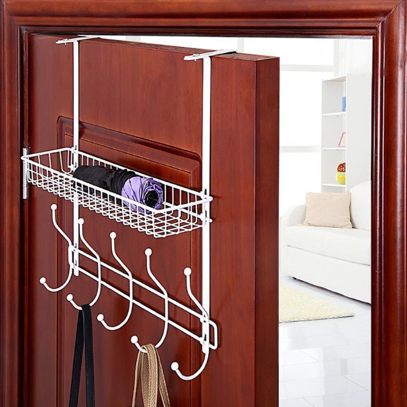 Puerta estante de la suspensión 5 ganchos de cocina Organizador de almacenamiento de titular Escudo de toallas suspensión del bolso de tela Claves titular de la pared de baños