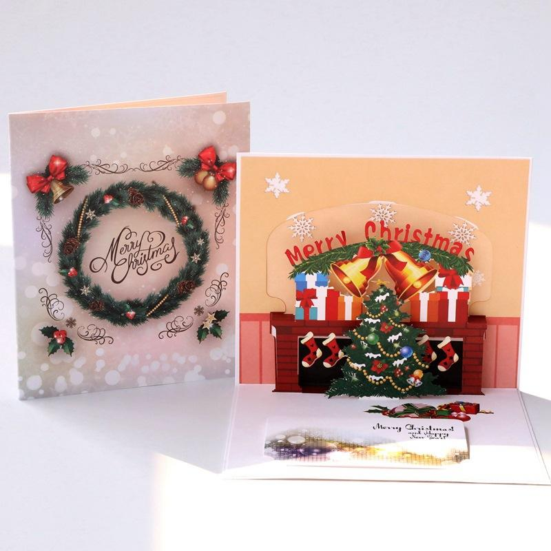 Christmas Gift Creative 3D Christmas Tree Cards Fashion Festive Party Greeting Card High Quality Handmade Paper Greeting Cards