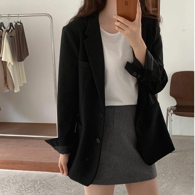 7sN7E Kore tarzı siyah hepsi maç takım kadınların gündelik gevşek zayıflama 2020 İlkbahar ve Sonbahar Yeni şık ins Coat ceket küçük takım elbise
