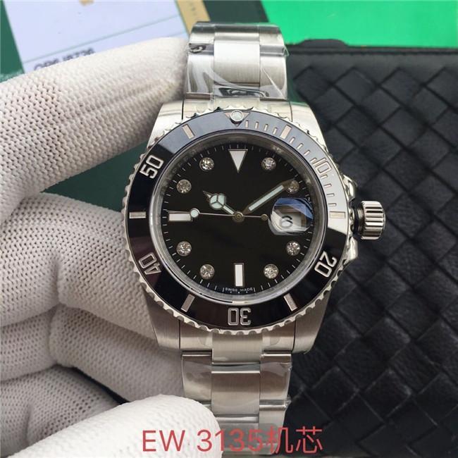 EW производит высококачественные 40 мм мужские часы 3135 автоматическое движение 316L стальные мужские часы с закрытыми нижними механическими часами