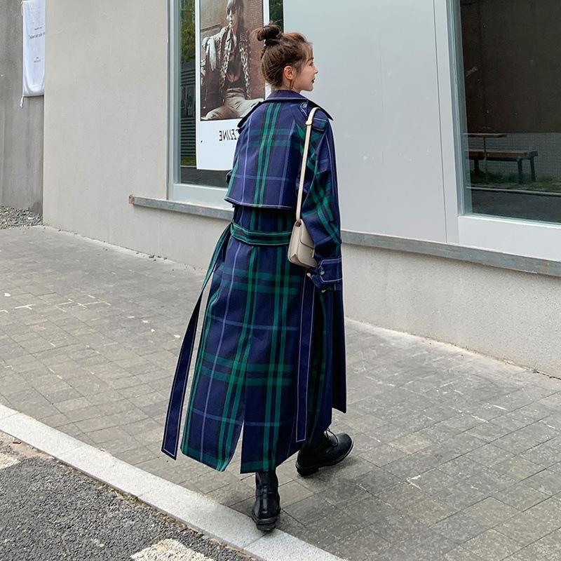 Estilo coreano salgado Windbreaker casaco e doce casaco na altura do joelho 2020 Outono Nova perder blusão meados de comprimento grande balanço das mulheres x7NVO