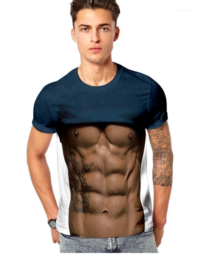 O Ansatz Muscle Designer Herren-Oberteile beiläufige dünne Mann-T-Shirts Sommer Printed Herren-T-Shirts Short Sleeve