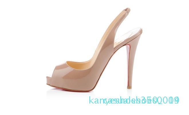 29 Classic Red Sole chaussures de talons hauts de mariage en cuir verni Femmes Hommes Marque Rouge Bas Plate-forme peep-orteils Sandales Designer Robe K14