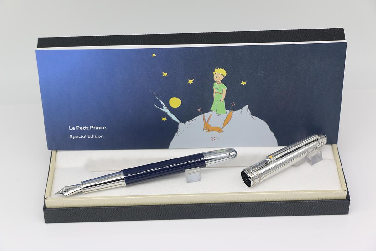 La série petit prince stylo plume en argent et en bas corps bleu avec de l'argent bureau Garniture stylo cadeau fournitures scolaires