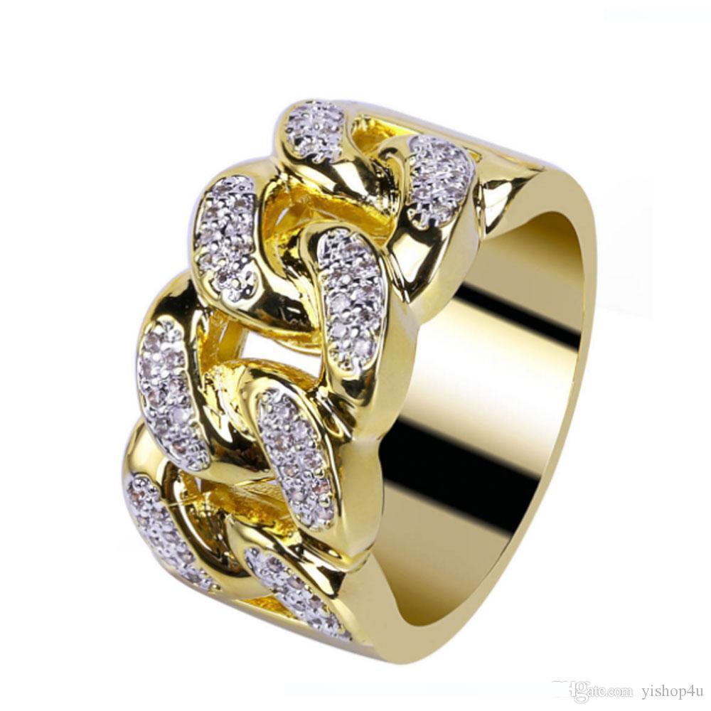 Mens золота 18K 13MM Cuba CZ Bling Bling Ring Micro Pave Цирконий Имитация Diamonds Хип-хоп кольца Размер # 7-Размер # 11