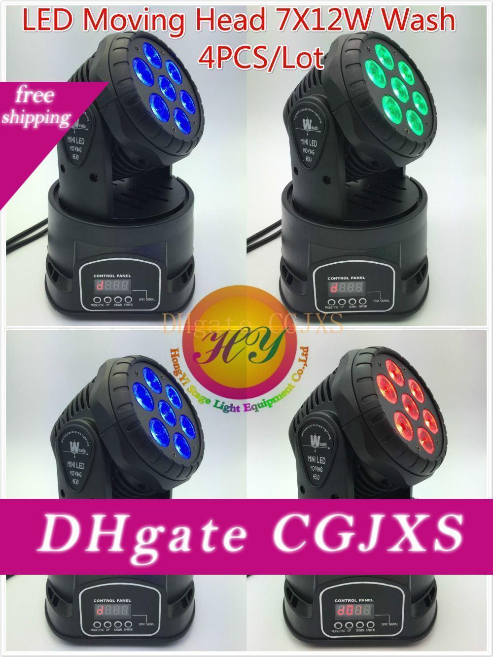 (4 Pezzi / Lotto) Cree 7x12w Rgbw Quad Mini Led Wash Moving Head Light Led luminosi della fase Mini Led Moving Head 14 canali