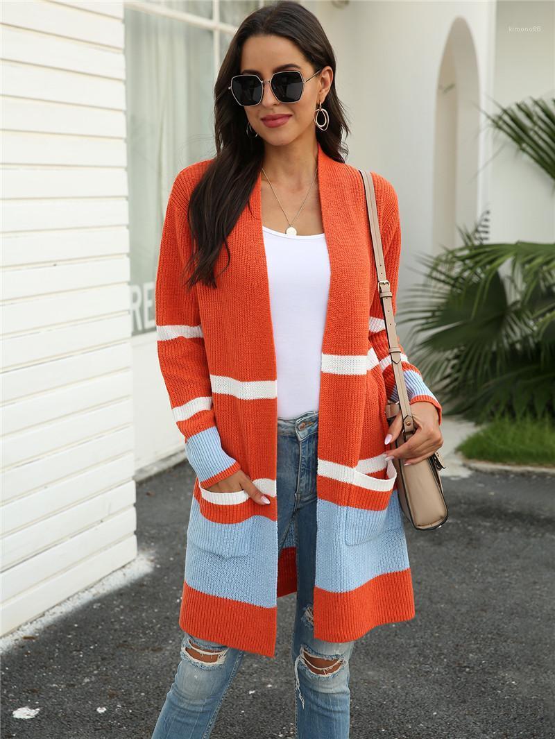 Brasão das mulheres Cardigan Camisolas Outono listrado com painéis manga comprida Camisolas magros com pacotes de moda solto Knit