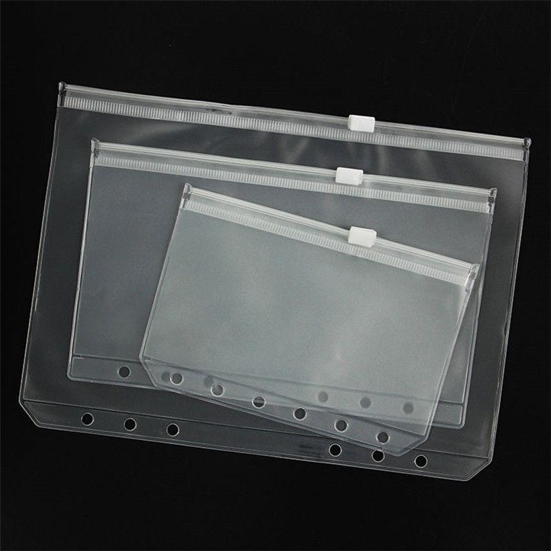 A5 / A6 / A7 PVC binder غطاء واضح سستة حقيبة التخزين 6 حفرة أكياس القرطاسية للماء مكتب السفر المحمولة الوثيقة كيس