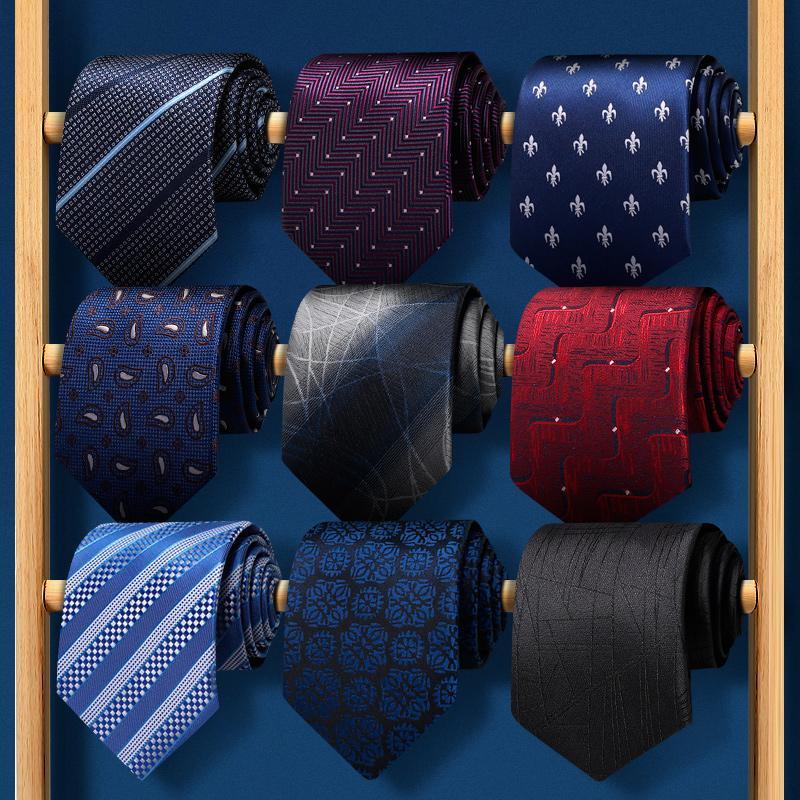 Hohe Qualität 2020 Designer neue Art und Weise Striped Marineblau 8cm Krawatten für Männer Krawatte Hochzeit Geschäfts-formalen Anzug mit Geschenk-Box