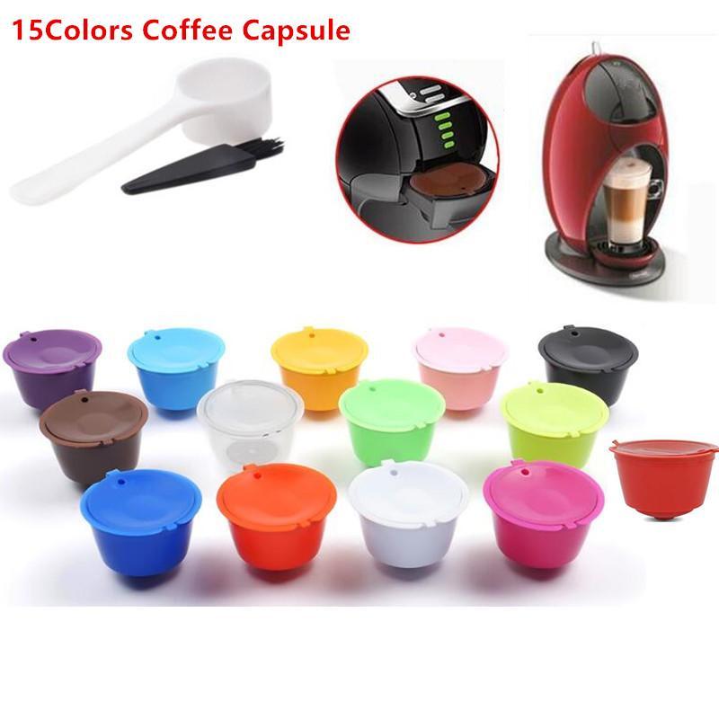 3pcs / set wiederverwendbare Kaffeekapsel mit Plastiklöffel Reinigungsbürste Kaffee-Filter nachfüllbar Kompatibel für Nescafe Dolce Gusto