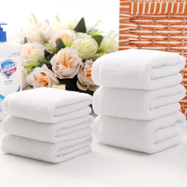 50 10pcs / lot İyi Kalite Beyaz Ucuz Yüz Havlusu Küçük El Havlu Mutfak Havlusu Hotel Restaurant Anaokulu Pamuk