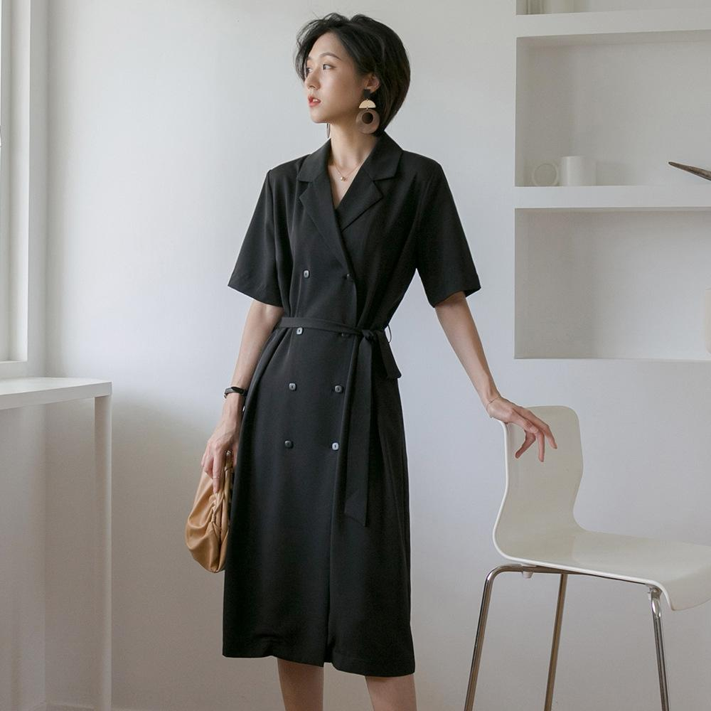 4rd3i 2020 été coréenne nouveau costume simple, mi-lucratif longueur à double boutonnage jupe taille haute pantalon et un pantalon à manches courtes LINE ligne A- dre