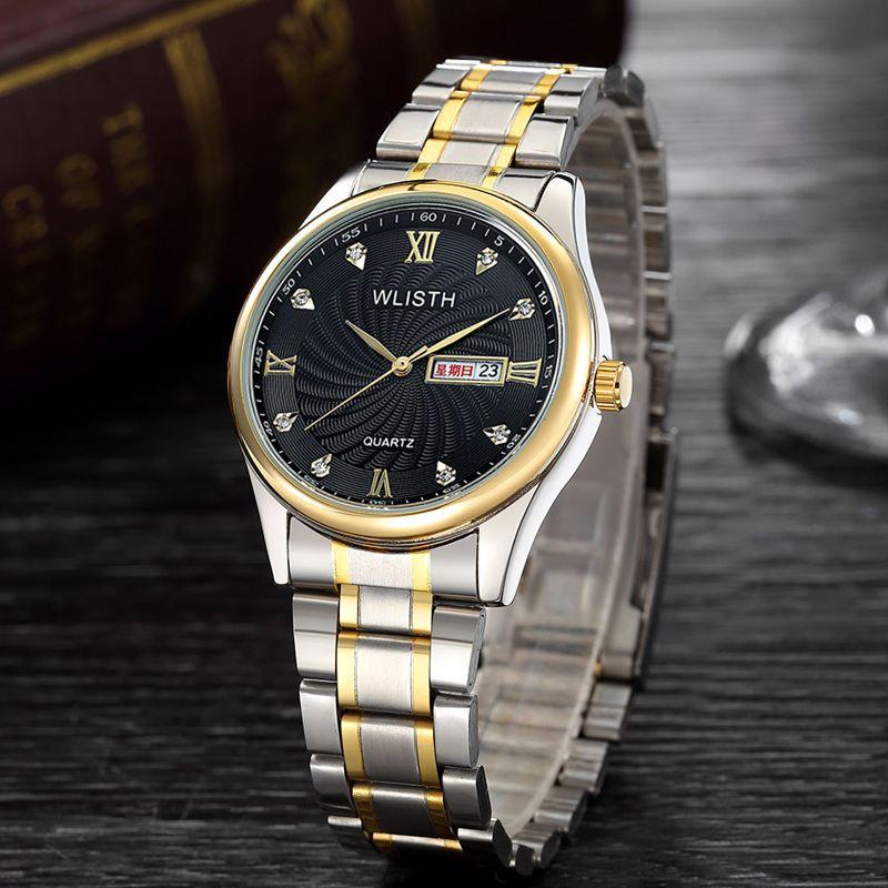 Uhr-Stahlband Geschäft Freizeit Quarz männliche Uhr koreanische Version Set Diamant wasserdichte leuchtende doppelte Kalender Gürtel Student Uhr