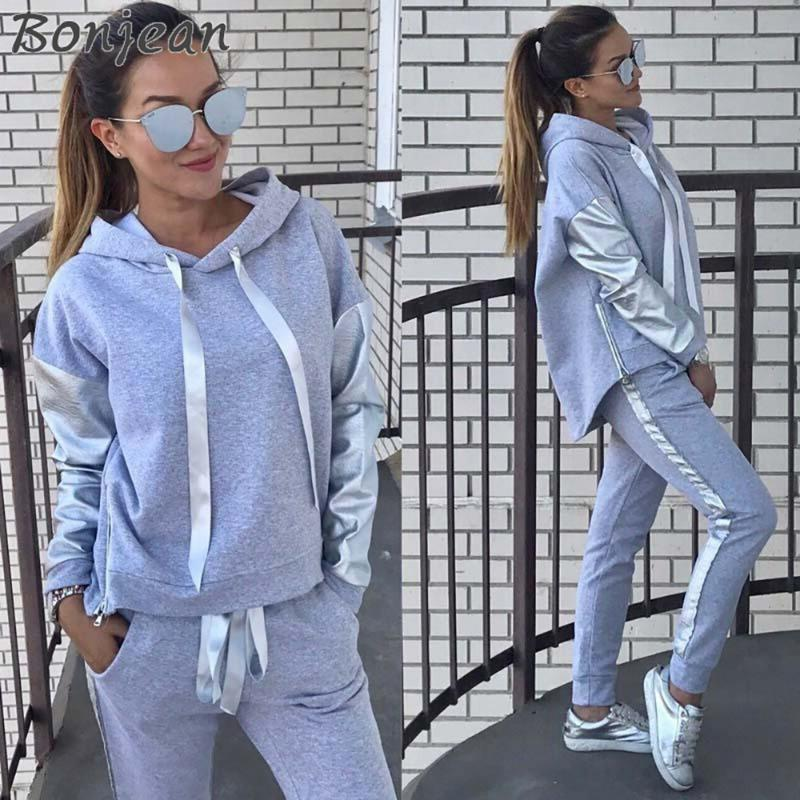 BONJEAN 2020 Autumn Winter Women Suits Warm 2 Pieces Sets Hoodies Long Sleeve Sweatshirt And Long Pants Tracksuit Outfits
