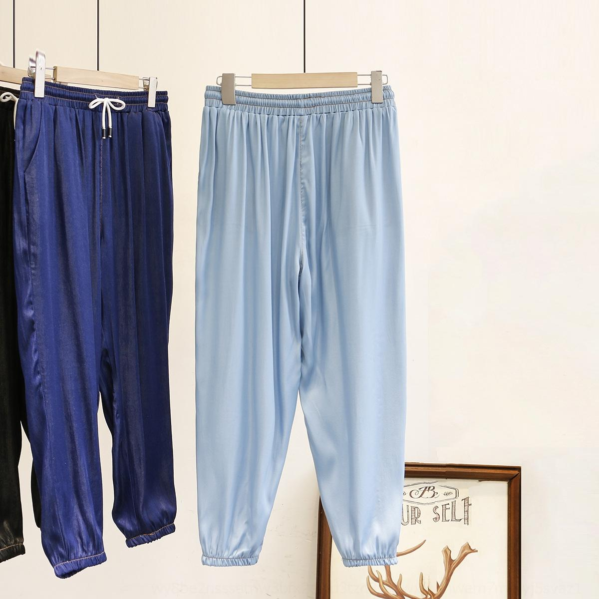 estilo BqjFH vysFL 200 kg coreana 2020 Verão gordura verão coreano moda MM emagrecimento brilhante rosto Ice Silk denim harém calças mais fas tamanho das mulheres