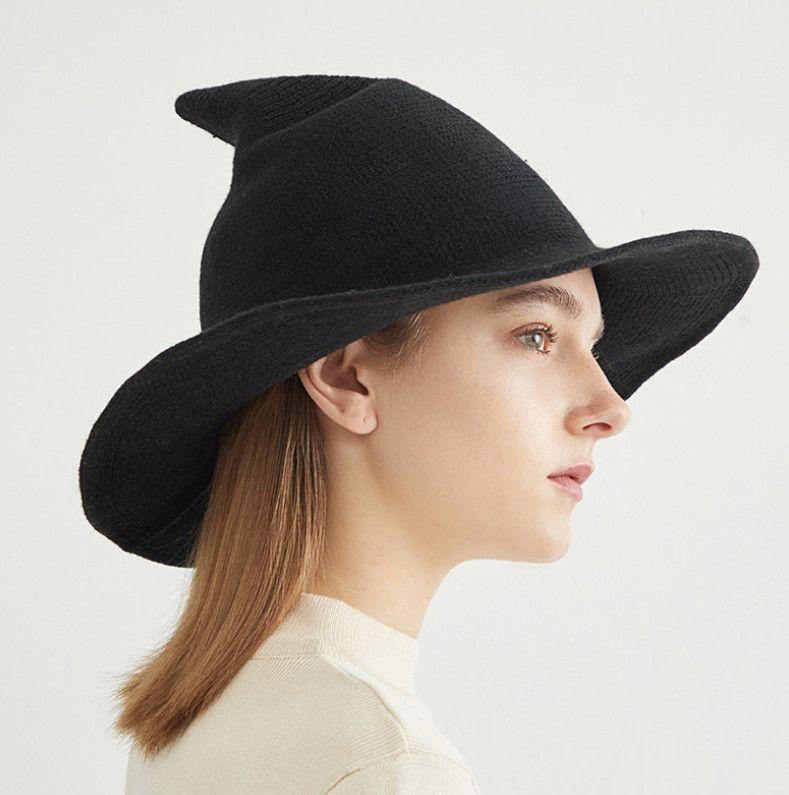 Moda Örme Cadı Şapkalar Cadılar Bayramı Spire Büyük Brim Şapka Büyük Çocuk Örgü Balıkçı Şapka A4112