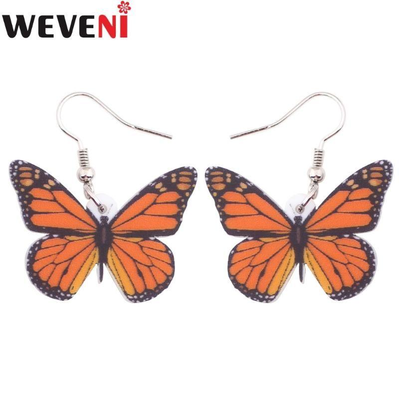 WEVENI Akrilik Bırak Dangle Uzun Büyük Böcek Monarch Kelebek Küpe İçin Kadınlar Yeni Moda Takı İlkbahar Yaz Aksesuar