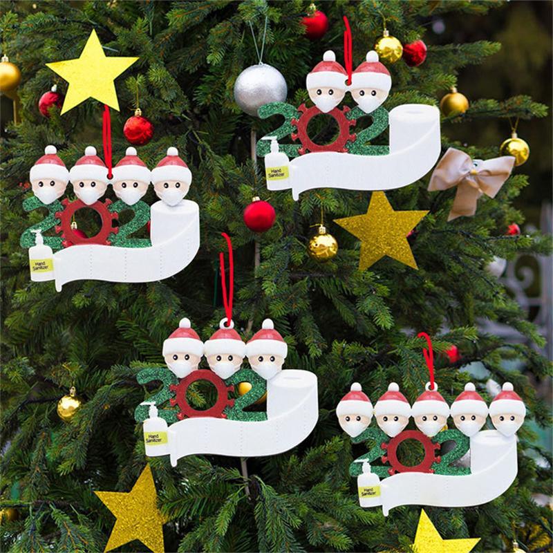 2020 Ornamento de Navidad DIY Mascarilla Muñeco de nieve Árbol de Navidad Colgante Colgante PVC Decoración de Navidad Familia 2/3/4/5