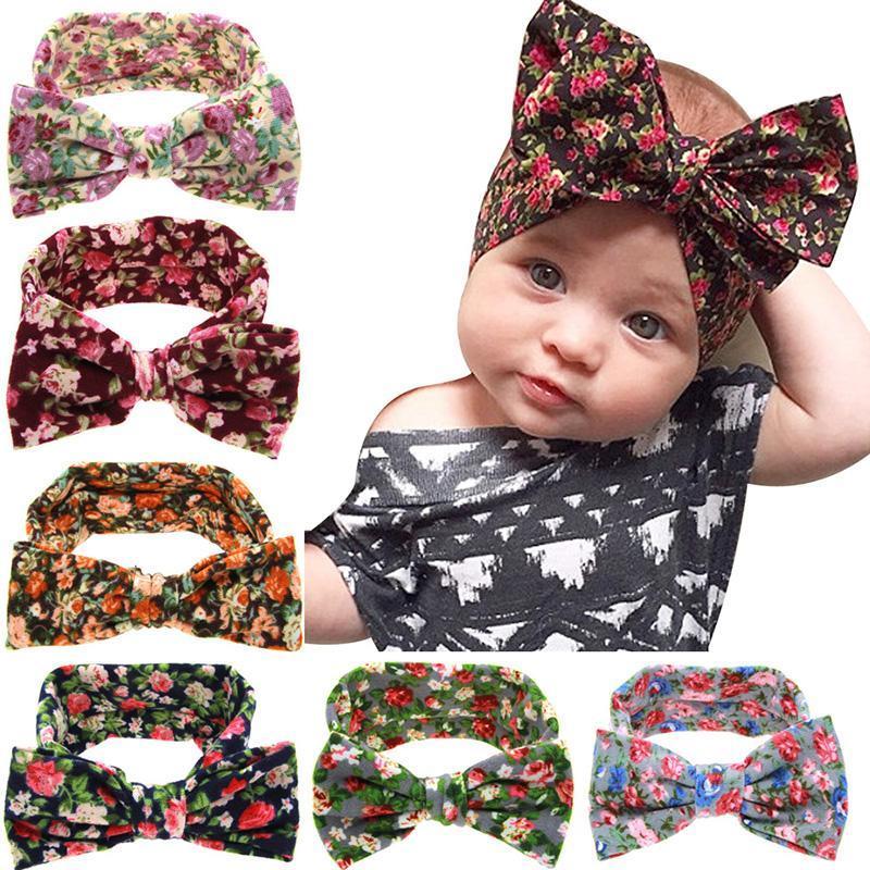 Bebé lindo niños pelo de la venda de la venda grande del oído floral arco Hairbands Turbantes Faixa Cabelo Para los accesorios del pelo de Headwear