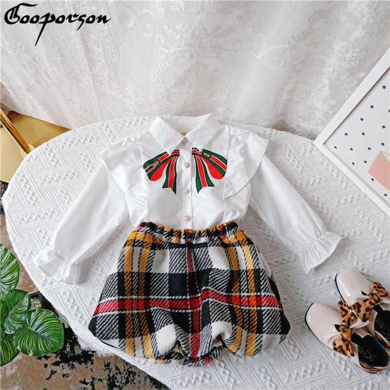 Autumn Girls Clothes Bow Long Sleeve Blouse&plaid Skirt Little Girl Clohting Set Fashion Kids Outfits Vetement Enfant Fille