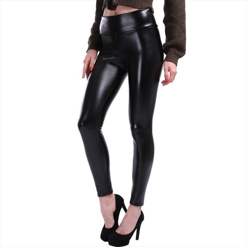 Женщины Плюс Размер Кожа Поножи Женщины высокой талией Леггинсы Stretch Тонкий черный гетры Мода PU кожаные штаны Женщины